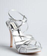 Badgley Mischka fierce metallic strappy heels 5.5