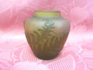 Antike Emile Gallé Vase Blumenvase Farn Motiv H 7 cm klein Miniatur Nancy 15790