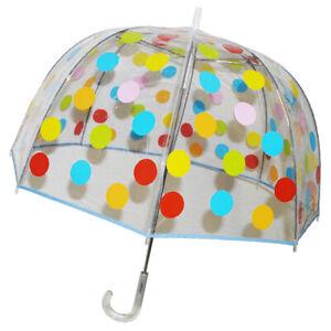 London Fog Dome Shaped Bubble Polka-a-dot Umbrella NWT