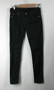 7 For All Mankind Jeans Womens Sz 28 Black Coated Mid Rise Skinny Leg Stretch