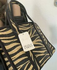 Franco Sarto NWT Zebra Print Straw & Leather Handbag Tote Shoulder Bag Purse