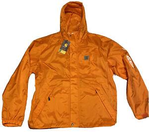 New Men's Carhartt Dry Harbor Jacket Orange Size Large Storm Defender