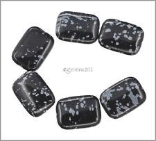6 Snowflake Obsidian Flat Rectangle Beads 18x25mm #89035