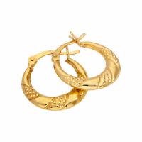 Gold Plated Sterling Silver Textured Twisted Creole 18mm Hoop Earrings