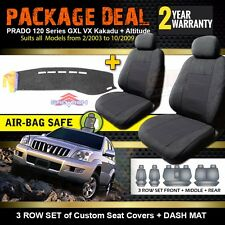 SEAT COVERS 3 ROW + DASH MAT PACKAGE for TOYOTA PRADO 120 SERIES GXL 2003-9/2009