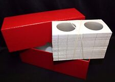 Silver Canadian Maple Leaf Coin Storage Box RED + 100 2½ x 2½ Coin Holder Flips