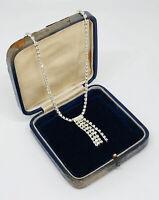 Silver Tone Necklace Diamante Trim Tassel Collar Length Sparkly Pretty Costume