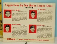 1960's Wilson Baseball Glove Tag with TED WILLIAMS, Nellie Fox, Early Wynn & Har