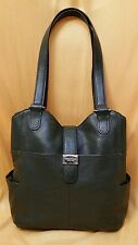 Tignanello Purse Shoulder Bag Handbag Dark Green Pebbled Leather Footed Bottom