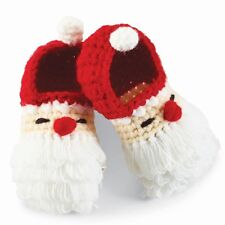 Mud Pie Christmas Holiday Crochet Santa Booties 0-6 Months