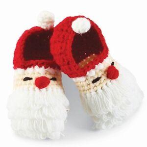 Mud Pie Christmas Holiday Crochet Santa Booties 0-6 Months