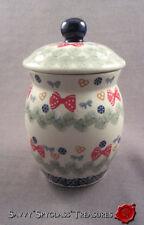 Vintage Boleslawiec Poland Garland Heart & Bow Tall Pottery Jar