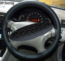 FOR MERCEDES S CLASS W220 98-05 BLACK LEATHER STEERING WHEEL COVER GREY STITCH