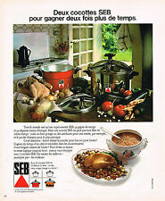 PUBLICITE ADVERTISING 064  1975  SEB   les deux cocotte- minute