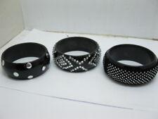 12 Punk Cool Black Bangle Bracelet Mixed