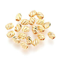 20 Fancy Cut Brass Barrel Metal Beads Faceted Tiny Loose Spacers Gold Plated 4mm