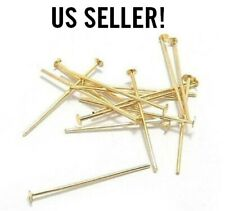 Wholesale 100pcs Gold Head Pins Finding 21/24 Gauge For Jewelry Earring Diy 15mm