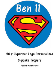 30 Superman Logo Personalised Cupcake Toppers Edible Paper Fairy Cake Topper