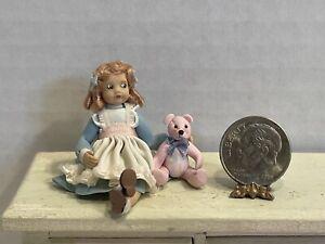 VTG Artist ARLETTE EVANS 98' Little Dresser Doll & Bear Dollhouse Miniature 1:12
