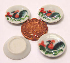 1:12 Scale 4 Cockerel Dishes Plate Dolls House Miniature Ceramic Accessories C24