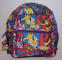 "NINTENDO POKEMON Large 16"" All Over Print BACKPACK Travel School Bag Tote NEW!"