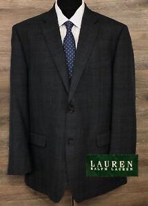 Ralph Lauren LRL Men's Blue Wool Plaid Two-Button Blazer Sport Coat Jacket 46L