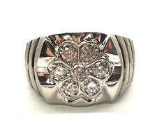 Big Men's Sterling Silver 925 Flower CZ Burst Brushed Striped Band Ring 10.25