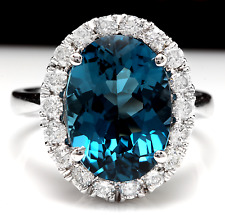 9.90 Carats Natural LONDON BLUE TOPAZ and Diamond 14K White Gold Ring