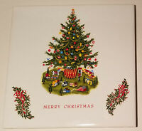 Vintage Ceramic Christmas Tree Tile S Claus Pier 39 SanFrancisco Merry Christmas