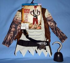 Pirate Costume boys M-8;mighty muscle top;pants;belt;head wrap;pirate hook;LOT-5