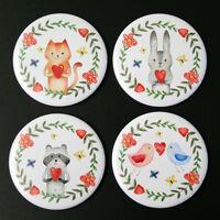 Love Animals Fridge Magnet Set 55mm 4pc Cute Illustration Gift Cat Rabbit Bird