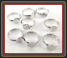 ★ LOT DE 20 supports de bague réglable Argenté ★ NEUF ★ Création bijoux