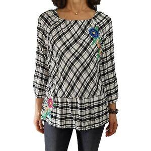 RAFAELLA WEEKEND XL $58 Black White Plaid Peasant Blouse 3/4 Slv Embroidered Top