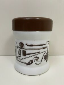 Vintage Milk Glass Pipe Tobacco Jar Cannister Humidor Container