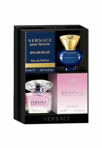 Versace Bright Crystal And Dylan Blue Mini Set 0.17 oz/5ml-NEW/SEALED