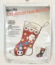 Vintage BUCILLA Needlecraft Christmas Stocking Kit Jeweled Santa Snowman NEW