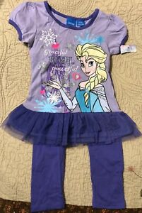 Girls Disney Frozen Elsa Purple Pant Set Size 4T NWT