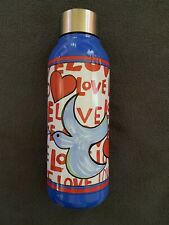 Brighton Blue And Red Love Doves Stainless Steel Water Bottle