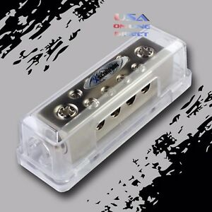 Platinum Ground Distribution Block Two 0/2 Gauge Wire AWG 12v Inputs 8ga. output