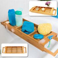 Wooden Extendable Bamboo Bathroom Bath Tub Caddy Tray Rack Soap Organiser Holder