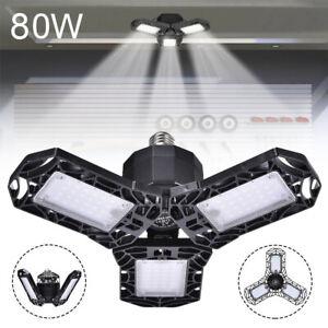 80W Deformable LED Garage Lights Bulb E27 Tri-fold Ceiling Fixture WorkShop Lamp