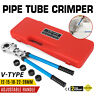 Copper Pipe Crimper Plumbing Crimping Tool 5pc V Dies 12/15/18/22/28 360°Head