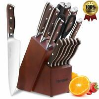Knife Set, 15-Piece Kitchen Knife Set with Block Wooden, Manual Sharpening