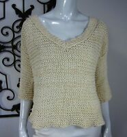 Free People Short Sleeve Oversized Scoop Neck Cable Knit Sweater Size XS Ivory