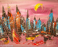 CITY   ORIGINAL OIL Painting  Stretched  IMPRESSIONIST POP ART UYDFB