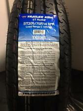 6 New ST205/75R14 Inch Trailer King ST Radial Tires R14 6 Ply 2057514 205 75 14