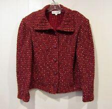 ST. JOHN COLLECTION Brick Red Melange Tweedy Knit Collared Jacket L