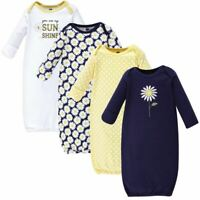 Hudson Baby Cotton Gowns, Daisy, 4-Pack, 0-6 Months