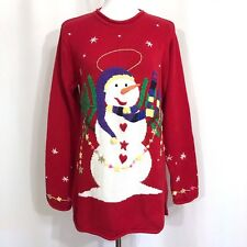 Quacker Factory Christmas Snowman Sweater Pull Over Tunic Length Sz M Not Ugly