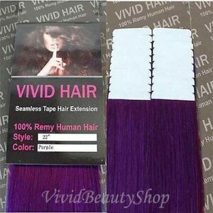 20pcs 22 inches Remy Seamless Tape Skin Weft Human Hair Extensions Purple Haze